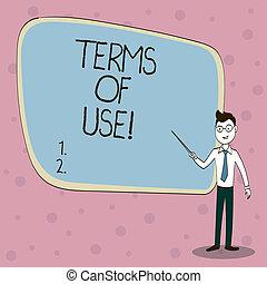 Escritura de texto términos de uso. Concepto las condiciones establecidas para usar acuerdos de política.