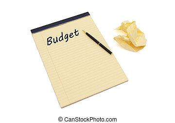 escritura, presupuesto, su