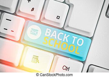 escritura, school., concepto, texto, nuevo, significado, período, escuela, year., comienzo, espalda, relativo