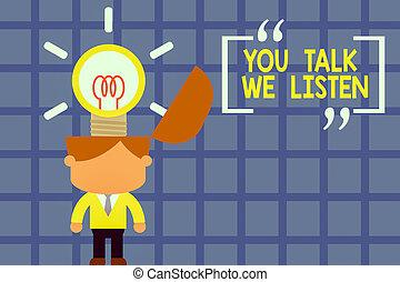 escritura, texto, usted, escritura, significado, manera, brillante, surging, conversación, corbata, traje, charla, de motivación, innovador, listen., concepto, solutions., exitoso, nosotros, posición, dos, comunicación, hombre