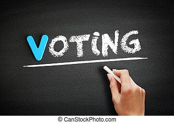 escritura, votación, concepto, pizarra, plano de fondo, mano