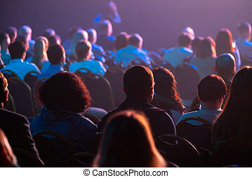 escuchar, conferencia negocio, attendees, sentarse