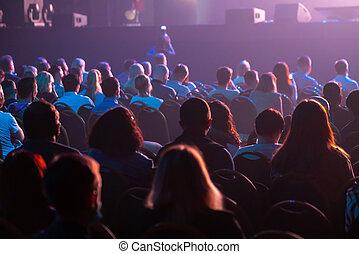escuchar, empresa / negocio, sentarse, conferencia, attendees