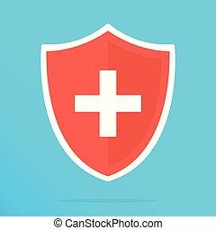 Escudo con icono cruzado. Escudo rojo con cruz blanca. Icono plano Vector