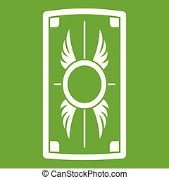 Escudo con icono de adorno verde