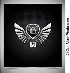 Escudo de metal con alas.