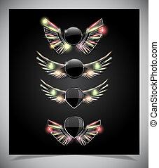 Escudo de metal con alas de cristal.
