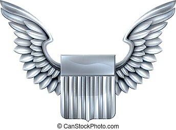 Escudo de plata con alas