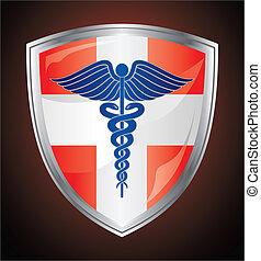 Escudo de símbolos médicos Caduceus