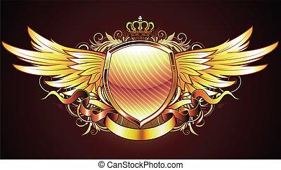 Escudo heráldico dorado