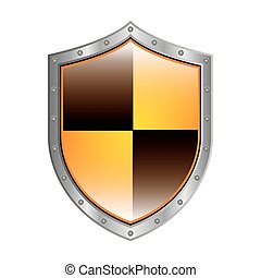 Escudo metálico con forma de rombo colorido