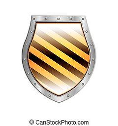 Escudo metálico con raya diagonal derecha