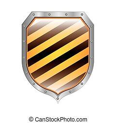 Escudo metálico con rayas diagonales