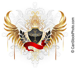 Escudo negro con alas doradas