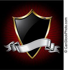 Escudo negro y cinta plateada