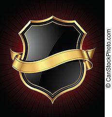 Escudo negro y dorado y cinta
