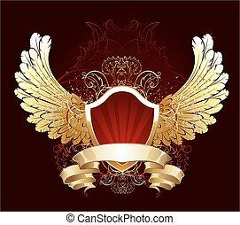 Escudo rojo con alas doradas