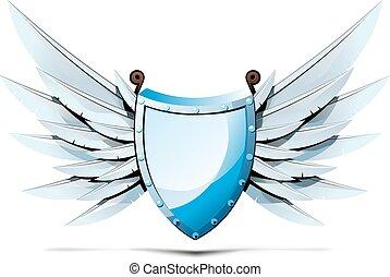 Escudo triangular con alas