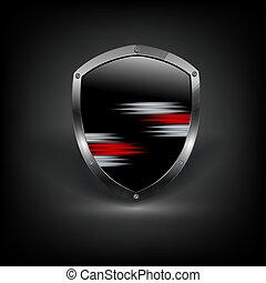 Escudo vector con adorno colorido y frontera metálica