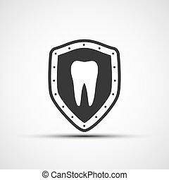 Escudo vector con un diente humano