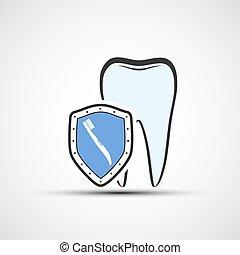 Escudo vector con un diente humano y cepillo de dientes