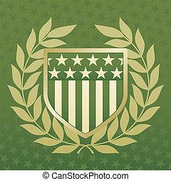 Escudo verde y dorado en un fondo estelar