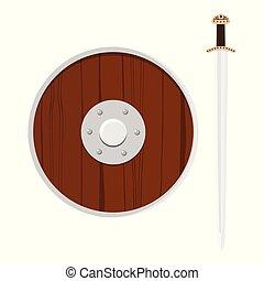 Escudo vikingo y espada