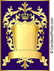 Escudo y oro corona real con patrón y cinta