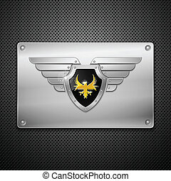 Escudos con águila y alas. Ilustración del vector.