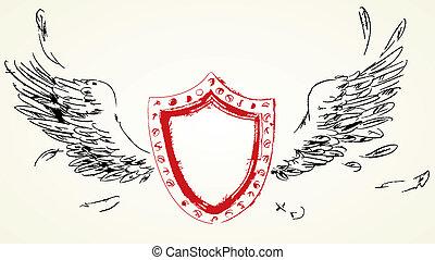 Escudos con alas. Secado a mano