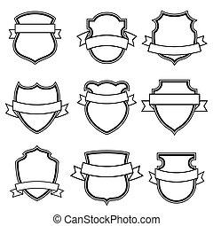 Escudos con colección de cintas aisladas