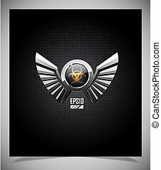 Escudos con símbolo de riesgo biológico y alas