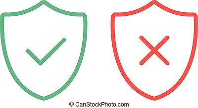 Escudos de línea delgadas con iconos de marca. Escudos delineados con garrapata verde y marcas rojas marca iconos de línea plana. Ilustración de vectores aislada en el fondo blanco