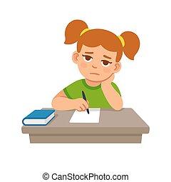 escuela, aburrido, niña