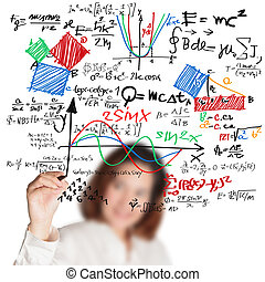 escuela, ciencia, escritura, alto, vario, hembra, matemáticas, fórmula, profesor
