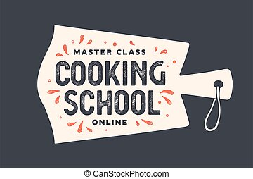 escuela, cocina, corte, cocina, board., logotipo