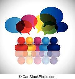 escuela, concepto, oficina, niños, hablar, vector, reunión, o, personal