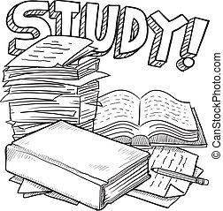escuela, estudio, bosquejo