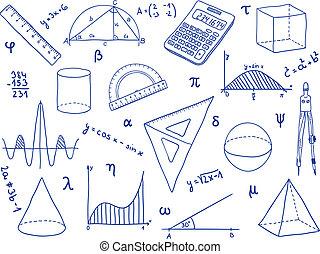 escuela, -, formas, suministros, matemáticas, geométrico, expresiones