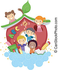 escuela, manzana