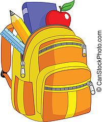 escuela, mochila