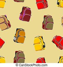 escuela, mochilas, repetir, patrón, seamless