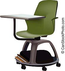 escuela, ruedas, escritorio