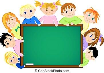 escuela, tabla, childrens