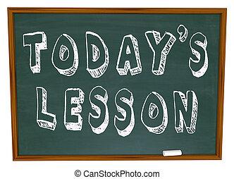 escuela, today's, -, entrenamiento, pizarra, palabras, lección