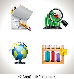 escuela, vector, 3, icons., parte