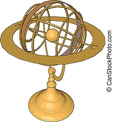 Escultura de oro, ilustración, vector de fondo blanco.