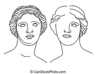 escultura, milo, de, cabeza, línea, antigüedad, arte, afrodita, venus