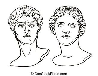 escultura, milo, de, david, cabeza, antigüedad, venus
