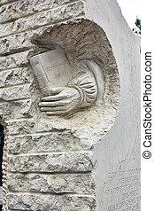 escultura, piedra, literatura, moderno, tributo